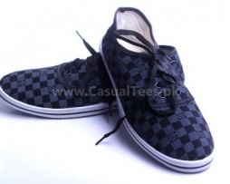 Grey Black Checker Casual Shoes