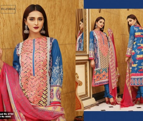 3 Piece Un-stitched Printed & Embroidered Lawn FC 21003-A