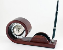 Wooden Desk Table Clock and Pen Holder