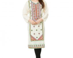 Vanilla Cream Cotton Embroidered Kurti - Free Size