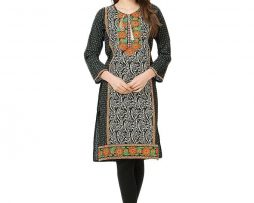 Black Soft Cotton Round Neck Long Sleeves Embroidered Kurti