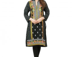 Black Soft Cotton Sherwani V-Neck Long Sleeves Embroidered Kurti