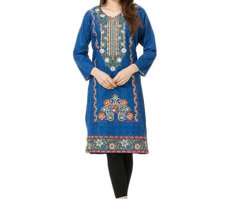 Blue Kurti with Multi Colored Floral Embroidery