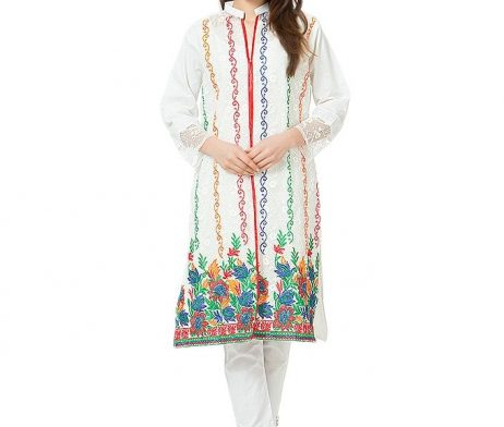 Cream Embroidered Chicken Net Kurti with Inner Cotton Lining