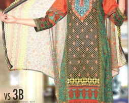 3 Piece Un-Stitched Chiffon Embroidered Lawn VS-VOL-3-3B