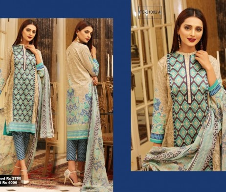 3 Piece Un-stitched Printed & Embroidered Lawn FC 21002-A
