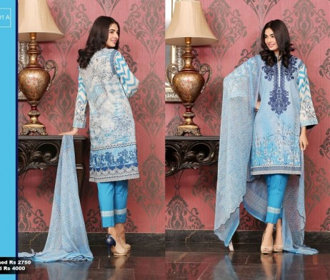 3 Piece Un-stitched Printed & Embroidered Lawn FC 21001-A