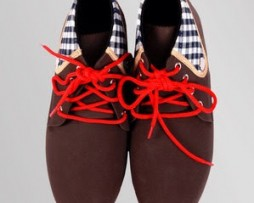 Dark Brown Casual Shoe with Red Laces
