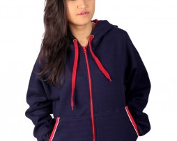 Dark Blue Red Zipper Hoodie