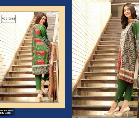 3 Piece Un-stitched Printed & Embroidered Lawn FC 21003-B
