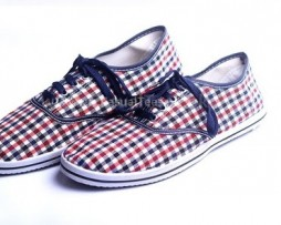 Red Blue Checker Casual Shoes