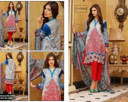 3 Piece Un-stitched Printed & Embroidered Lawn FC 21009-B
