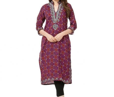 Printed Ajrak Shirt with front Embroidery